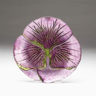 "Red Pomegranate SET OF 4 PANSY 8.5"" PURPLE GREEN PLATES"