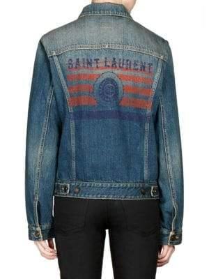 Saint Laurent Logo Back Denim Jacket