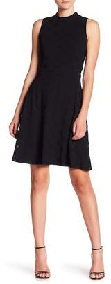 Nine West Textured Mock Neck Fit & Flare Dress