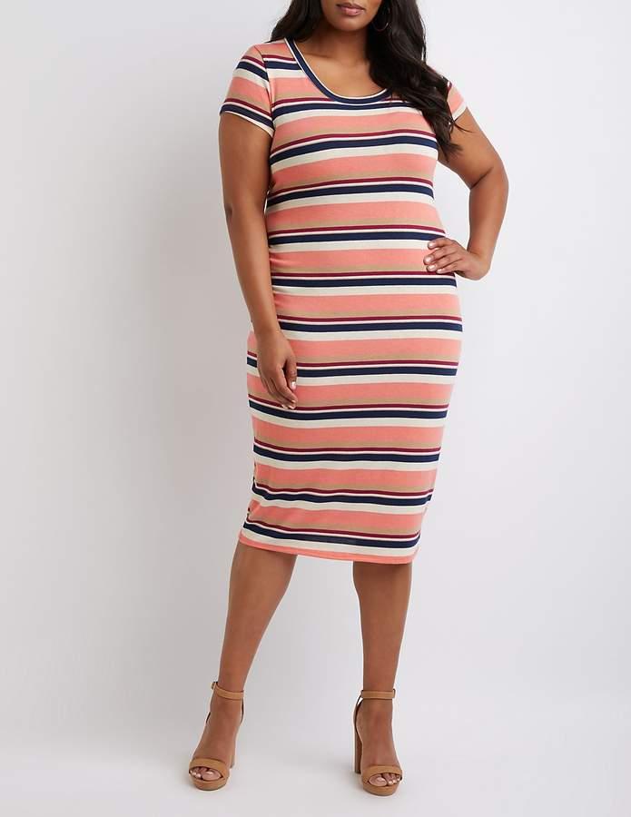 Plus Size Striped Shirt Dress