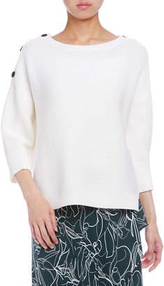 Charli BAUX スリット七分袖 肩ボタン ニットプルオーバー ホワイト s