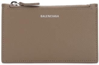 Balenciaga VILLE LOGO PRINTED LEATHER CARD HOLDER