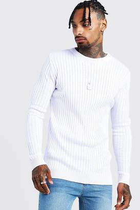 boohoo Muscle Fit Long Sleeve Ribbed Crew Neck Jumper