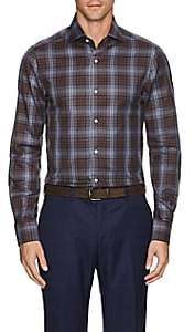 Isaia Men's Checked Cotton Dress Shirt - Brown