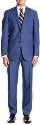 Hart Schaffner Marx Blue Sharkskin Notch Lapel Wool New York Fit Suit