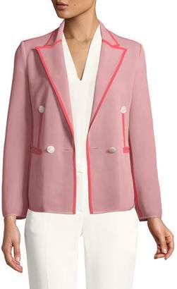 Giorgio Armani Double-Breasted Peak-Lapel Jersey Blazer with Contrast Piping Trim