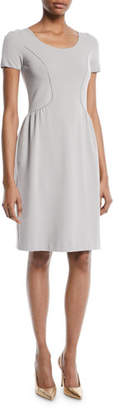 Emporio Armani Short-Sleeve Round-Neck Ottoman Knit Sheath Dress