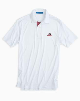 Southern Tide Gameday Tattersall Placket Performance Polo - University of Georgia