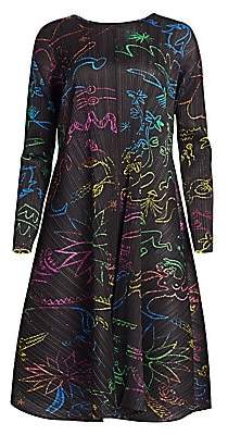Pleats Please Issey Miyake Women's In Her Dream Floral Long-Sleeve Dress