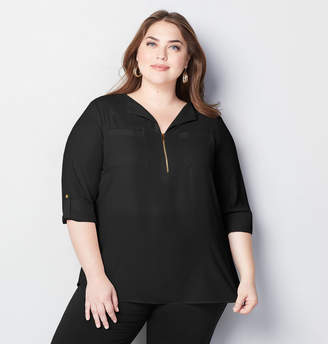 Avenue Split Neck Equipment Blouse