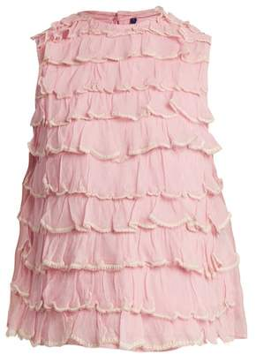 Jupe By Jackie - Bagana Tiered Ruffle Silk Organza Top - Womens - Light Pink