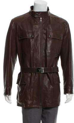 Prada Leather Zip-Up Jacket