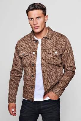 boohoo MAN Repeat Print Denim Jacket