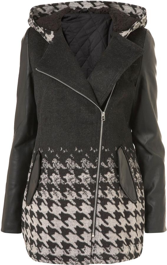 Topshop Dogtooth Sleeve Duffle Coat