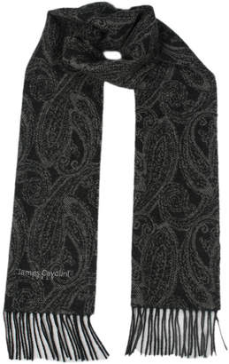 James Cavolini Italy Men's Cashmere Wool Paisley Scarf