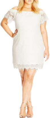 City Chic Off the Shoulder Lace Dress