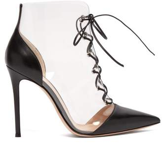 Gianvito Rossi Icon 105 Pvc And Leather Lace Up Boots - Womens - Black