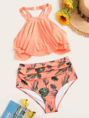 Shein Hanky Hem Halter Top With Tropical Bikini Set