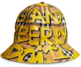 Burberry Graffiti Print Vintage Check Bucket Hat