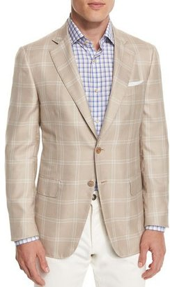 Isaia Gregory Windowpane Two-Button Sport Coat, Tan $3,895 thestylecure.com