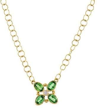 Temple St. Clair 18K Tsavorite & Diamond Quadrifoglio Pendant Necklace