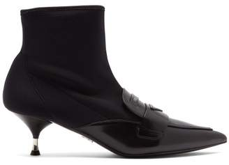 Prada Neoprene And Leather Ankle Boots - Womens - Black