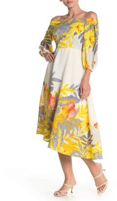 Donna Morgan Off-the-Shoulder Floral Print Asymmetrical Hem Dress