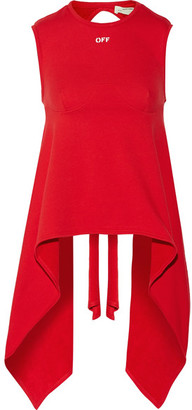 Off-White - Open-back French Cotton-terry Top - Claret $405 thestylecure.com
