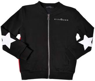 John Richmond Zip-Up Cotton Sweatshirt W/ Star Patches