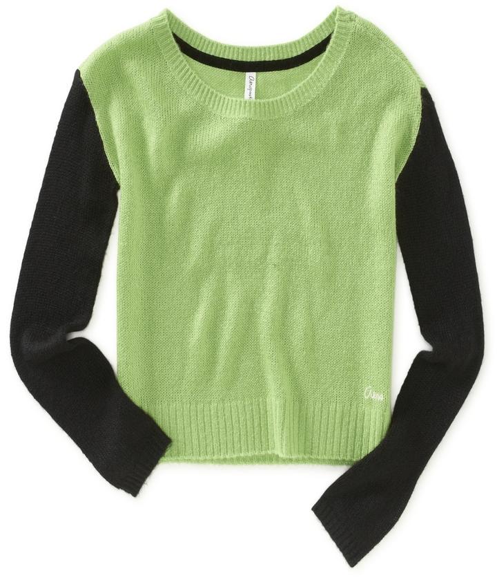 Aeropostale Colorblocked Sleeve Crew Sweater
