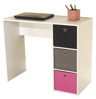 Generic Kids Desk with Three Fabric Storage Bins, Multiple Colors
