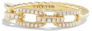 David Yurman Stax Single Row Pavé Chain Link Ring with Diamonds in 18K Gold
