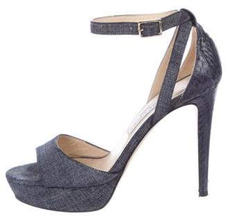Jimmy Choo Kayden Snakeskin-Trimmed Sandals