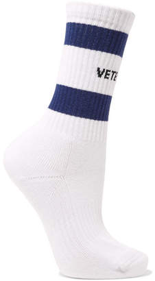 Vetements Tommy Hilfiger Intarsia Ribbed Cotton-blend Socks - White