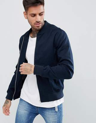 New Look Cotton Bomber Jacket In Navy