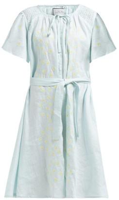 Innika Choo Hans Ufmafrok Embroidered Linen Smock Dress - Womens - Light Blue