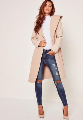 Hooded Faux Wool Duster Coat Camel $56 thestylecure.com