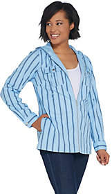 Denim & Co. Stretch Twill Zip-Front StripedJacket w/ Hood