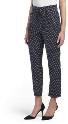 Printed Dot High Rise Paper Bag Pants