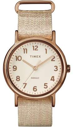 Timex Women's Weekender 38 Metallic Blush Watch, Fabric Slip-Thru Strap