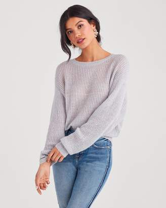 7 For All Mankind Open Weave Sweater in Light Heather Grey