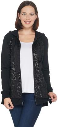 Isaac Mizrahi Live! Sequin Zip Front Hoodie with Pockets