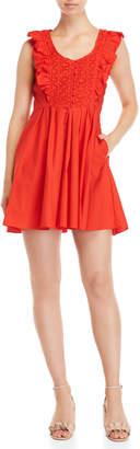 Free People Red Ruffle Dress