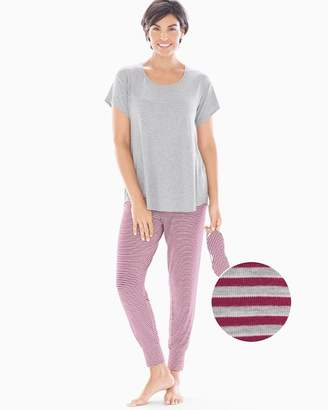 Cool Nights Short Sleeve Banded Ankle Pajama Set With Eye Mask Ribbon Stripe with Hthr Opal