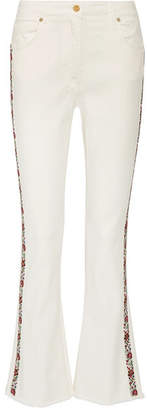 Etro - Embroidered High-rise Bootcut Jeans - White $900 thestylecure.com