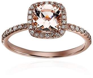 10k Rose Gold 1ct Morganite and Diamond Cushion Engagement Ring (1/4cttw
