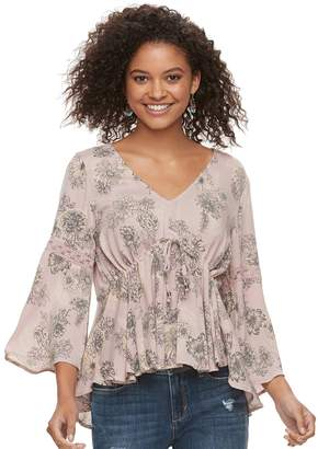 American Rag Juniors' Lace-Up Floral Top