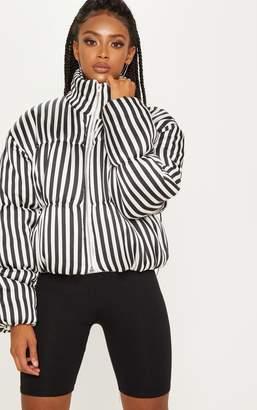 PrettyLittleThing White Stripe Satin Puffer