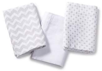 SwaddleMe Muslin Swaddle Blankets 3-PK, Fashion Grey Chevron (OS) by SwaddleMe