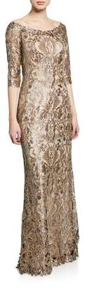Tadashi Shoji Boat-Neck Elbow-Sleeve Sequin Lace Column Gown